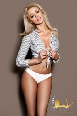 Pretty lady wears a line shirts and a white panties