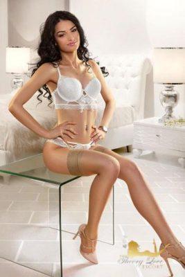 Loria is wearing a silk white underwear